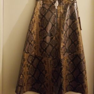 Zara faux snakeskin leather A-Line skirt XS